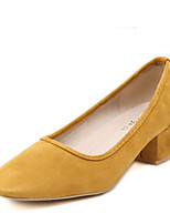 Women's Heels Fall Heels / Square Toe Suede Casual Chunky Heel Others Black / Yellow / Almond / Orange Others