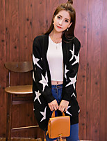 Women's Casual/Daily Vintage Long Cardigan,Print Black Asymmetrical Long Sleeve Polyester Winter Medium