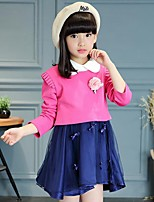 Girl's Casual/Daily Patchwork Dress,Cotton / Rayon Winter / Spring / Fall Blue / Red