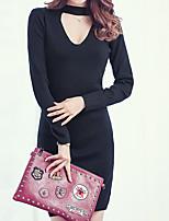 Damen Lang Pullover-Ausgehen Einfach Solide Schwarz / Grau Rollkragen ½ Länge Ärmel Baumwolle Herbst Mittel