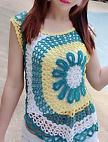 Damen Standard Strickjacke-Lässig/Alltäglich Einfach Stickerei Mehrfarbig Rundhalsausschnitt Ärmellos Polyester Sommer Mittel