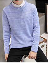 Men's Solid Casual Pullover,Polyester Long Sleeve Blue / Gray