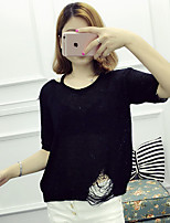 Women's Casual/Daily Simple Regular Pullover,Solid Round Neck Short Sleeve Cotton Spring Medium