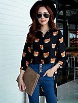 Women's Going out / Work / Holiday Street chic / Punk & Gothic / SophisticatedShirt,Print Shirt Collar Long Sleeve