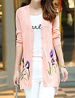 Women's Going out / Casual/Daily Street chic Regular Cardigan,Solid / Print Blue / Pink V Neck Long Sleeve