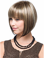 Blonde Brown mix Wig Silky Straight Short CLASSY Bob Style Synthetic Wigs for Women free shipping