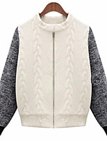 Women's Plus Size Simple Regular Cardigan,Patchwork White / Black Round Neck Long Sleeve Others Winter Thin