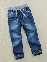 Pantalones Boy-Casual/Diario-Un Color-Algodón-Todas las Temporadas-Azul