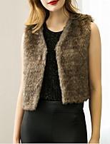 Женский На каждый день Однотонный Пальто с мехом V-образный вырез,Простое Осень Белый / Черный / Коричневый / Серый Без рукавов,