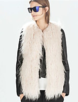 Women's Plus Size / Casual/Daily / Party/Cocktail Sexy / Simple Fur Coat,Solid Round Neck Sleeveless Fall /