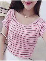 Women's Going out / Casual/ Cute Regular Pullover, Black Round Neck Short Sleeve Cotton Summer Medium