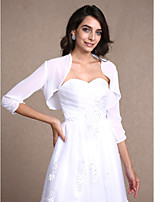 Women's Wrap Shrugs 3/4-Length Sleeve Chiffon White Wedding / Party/Evening / Casual Scoop Draped Open Front