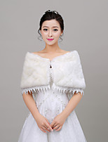 Women's Wrap Capelets Sleeveless Faux Fur Ivory Wedding Off-the-shoulder 35cm Rhinestone Clasp