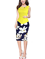 Women's Work Sexy Sheath Dress,Patchwork Asymmetrical Knee-length Sleeveless  Polyester Summer Print Randomly