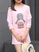 Girl's Casual/Daily Print Blouse,Cotton Spring / Fall Pink / White