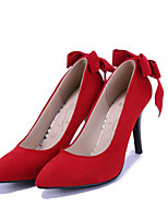 Women's Heels Spring / Summer / Fall Heels / Pointed Toe Leatherette Wedding / Casual Stiletto Heel Bowknot Black / Red