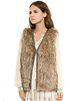 Women's Plus Size / Casual/Daily / Simple Fur Coat,Solid V Neck Sleeveless Fall / Winter Brown Acrylic Thick
