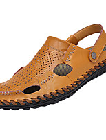Hombre-Tacón Plano-Confort-Sandalias-Casual-Cuero-Negro / Azul / Marrón