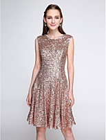 Lanting Bride®Knee-length Sequined Bridesmaid Dress - Sparkle & Shine A-line Jewel with Sequins