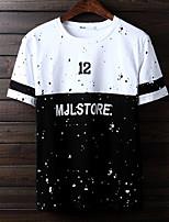 Masculino Camiseta Algodão Estampado Manga Curta Casual-Preto / Branco
