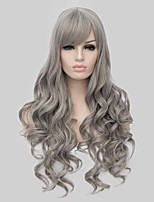 Fashion Synthetic Wigs Ombre Black Grey Long Wavy Synthetic Wig Hot Sale.