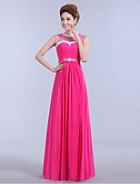 Formal Evening Dress A-line Jewel Floor-length Chiffon with Beading / Sash / Ribbon