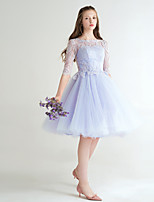 Cocktail Party Dress A-line Jewel Short / Mini Lace with Bow(s) / Lace / Sash / Ribbon