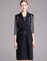 Boutique S Women's Going out / Street chic Spring Skirt,Striped Round Neck ¾ Sleeve Black Cotton Opaque/Set