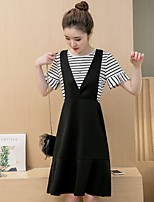 Maternity Casual/Daily Simple Loose Dress,Striped Round Neck Above Knee Short Sleeve Black Polyester Summer