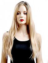 couleur longue perruque droites blonds capless perruques synthétiques pour les femmes