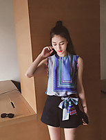Boutique S Going out / Casual/Daily / Cute Summer T-shirt Pant,Solid / Geometric Standing Collar SleevelessBlue
