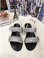 Women's Sandals Spring / Summer / Fall Sandals PU Casual Flat Heel Sparkling Glitter Black / White Others