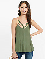 Women's Casual/Daily Sexy Summer Tank Top,Solid Strap Sleeveless Black / Green Cotton Thin