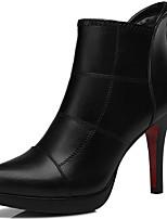Черный / Серебристый-Женский-Для офиса / Для вечеринки / ужина-Синтетика-На шпильке-Военные ботинки-Ботинки