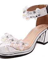 Women's Sandals Summer Sandals / Open Toe Microfibre Casual Chunky Heel Applique Silver Others