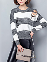 Women's Casual/Daily Street chic Long Pullover,Striped White Round Neck Long Sleeve Cotton Fall Medium