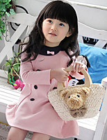 Girl's Cotton  Spring/Autumn Round Neck Bowknot Double-breasted Long Sleeve Dress