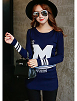 Women's Going out / Casual/Cute Regular Pullover,Letter Blue / Black Round Neck Long Sleeve Cotton Spring / Fall Medium