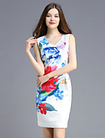 Boutique S Women's Casual/Daily Vintage Shift Dress,Floral Round Neck Above Knee Sleeveless White Polyester Summer