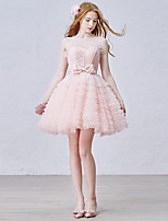 Cocktail Party Dress Ball Gown Jewel Short / Mini Tulle with Appliques / Bow(s) / Lace / Ruffles