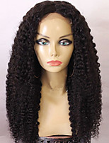 8A Long Natural Black Color Kinky Curly Glueless Full Lace Wigs Brazilian Virgin Human Hair Lace Wigs For Women