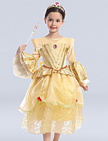 Girl's Formal Patchwork Dress,Cotton / Polyester Winter / Fall Gold