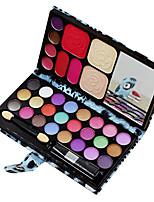 2 Foundation+24 Shadow+3 Blush+ 4 Lip Gloss +Mirror+Powder Puff Makeup Set Random Leopard Color