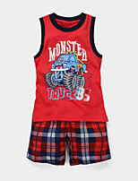 Boy's Casual/Daily Patchwork Clothing Set / Sleepwear,Cotton Summer Red