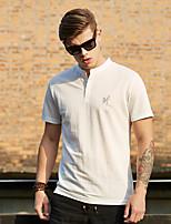 WILSHEMON® Men's V Neck Short Sleeve T Shirt White / Khaki / Royal Blue-WS16B18078