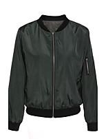 Damen Solide Street Schick Lässig/Alltäglich Jacke,Rundhalsausschnitt Frühling / Herbst Langarm Grün Polyester Mittel