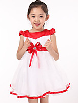 Girl's Casual/Daily Solid DressPolyester Summer Blue / Red