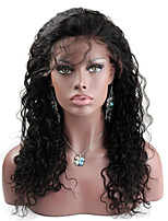 10-28 Inch Indian Virgin Human Hair Water Wave Lace Wig Natural Black Color Frontal Lace Wigs with Baby Hair