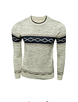 Men's Print Casual Pullover,Wool Long Sleeve Brown / Beige
