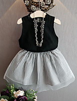 Girl's Casual/Daily Striped Dress,Cotton Summer Black / Purple Set